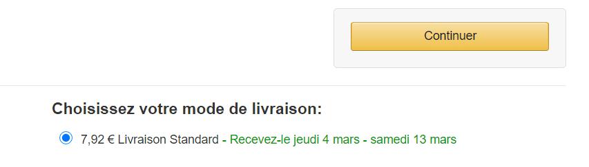 Ejemplo de envío estandard desde Amazon Francia